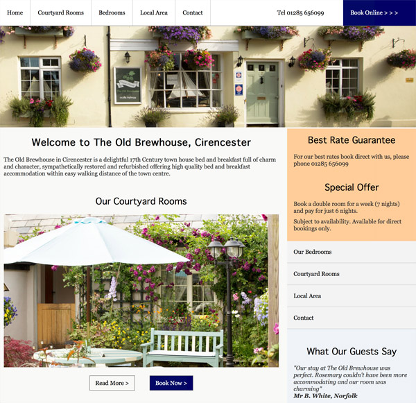 Website for a bed and breakfast in Cirencester